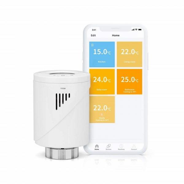 Kit Cap termostatic calorifer Meross MTS100H cu Hub, Smart, Alexa, Google Home, control smartphone 1