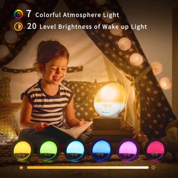 Radio cu ceas Smart Wifi HeimVision, simulare rasarit, control din smartphone, lampa de veghe cu 7 culori, 20 de intensitati a luminii, incarcare USB, Alexa [2]