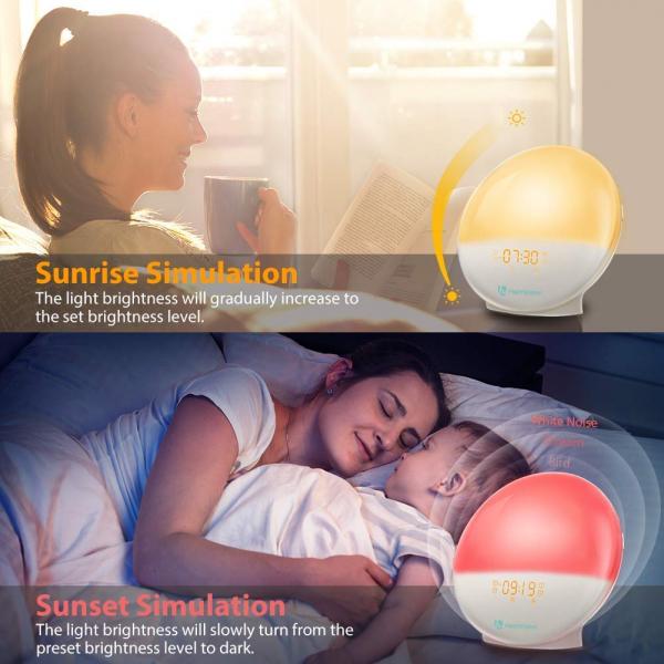Radio cu ceas Smart Wifi HeimVision, simulare rasarit, control din smartphone, lampa de veghe cu 7 culori, 20 de intensitati a luminii, incarcare USB, Alexa [3]