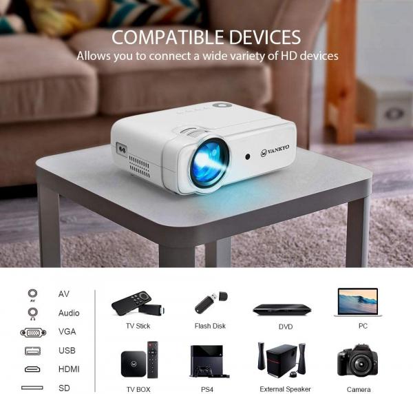 Videoproiector Vankyo  Leisure 430, 4000 Lumeni, LED, HDMI, SD, AV, VGA, USB, Geanta de transport, Telecomanda, Cablu HDMI 2