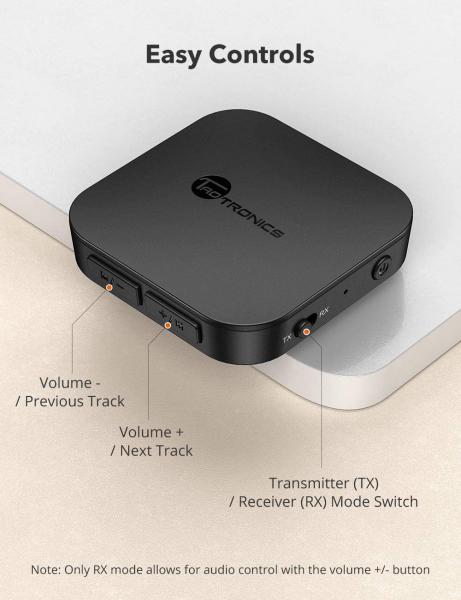 Adaptor Bluetooth Transmitator si Receptor Audio 2 in 1 TaoTronics TT-BA08, Bluetooth 5.0, conectare 2 casti simultan 5