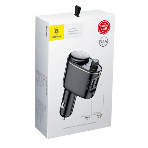 Modulator FM Baseus Locomotive Bluetooth MP3 car charger black 1