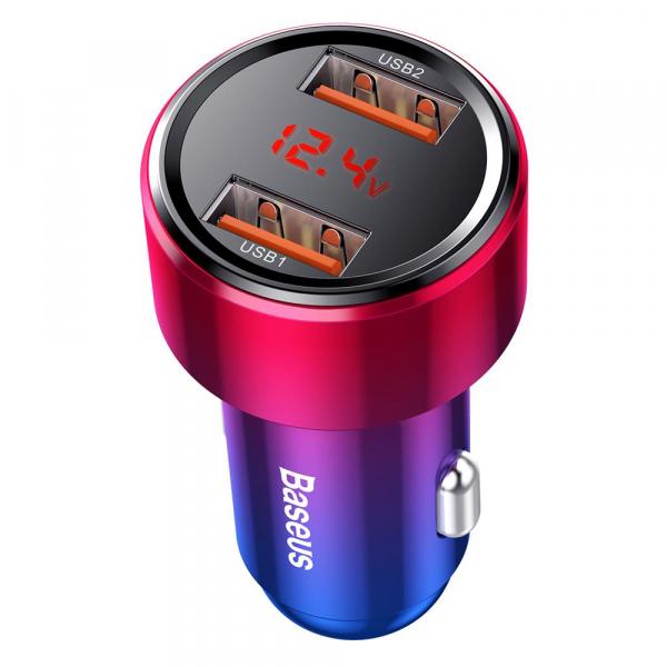 Baseus Incarcator auto Magic PPS QC 4.0+ 2USB rosu - albastru 45W [1]