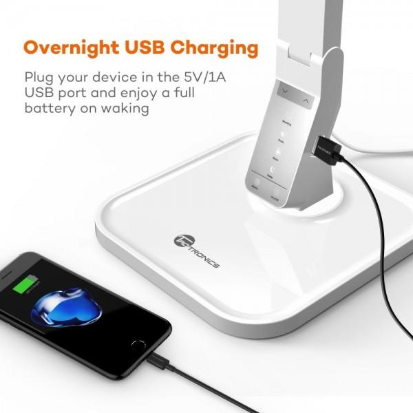 Lampa de birou LED TaoTronics TT DL02 control Touch, 4 moduri, 14W, USB - Alba 1