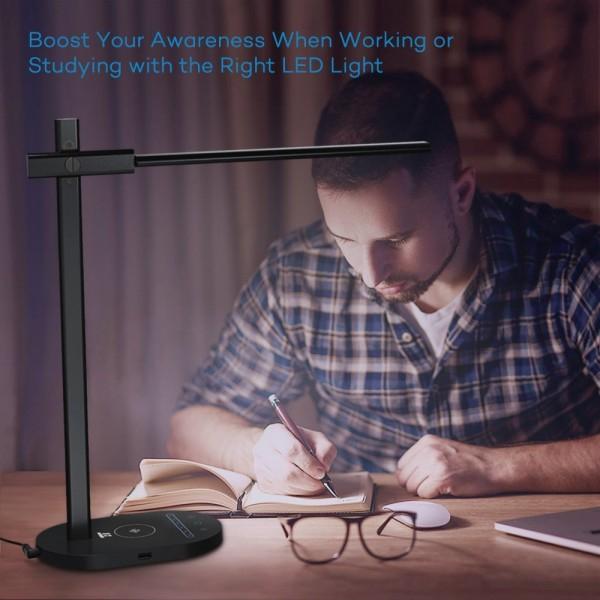Lampa de birou LED TaoTronics TT-DL31, protectie ochi, control touch, Incarcare Telefon Wireles si USB 1