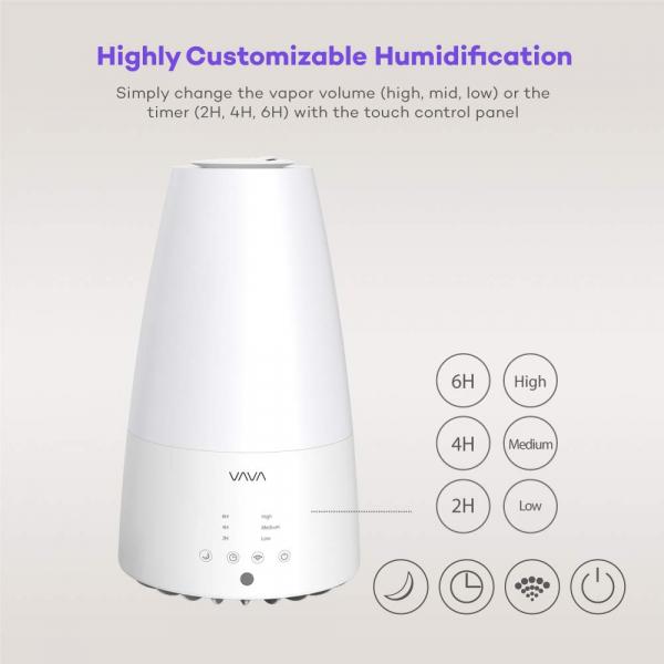 Umidificator de aer cu ultrasunete VAVA 3L, Telecomanda, 280ml/h, Silentios,  3 trepete putere, 25W [1]