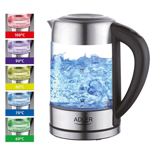Fierbator ADLER AD 1247 cu reglare temperatura, 2200wati,1.7l, sticla,leduri iluminare,negru/inox 1