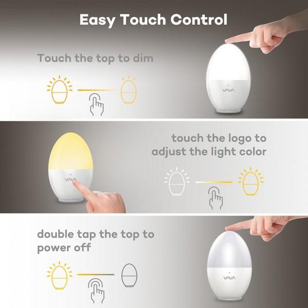 Lampa de veghe VAVA LED cu reglare touch a Intensitatii, lumina calda si rece 2