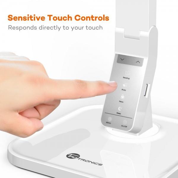 Lampa de birou LED TaoTronics TT DL02 control Touch, 4 moduri, 14W, USB - Alba 2