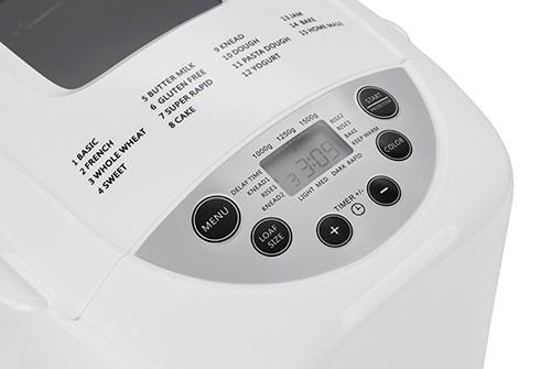Masina de paine ADLER AD 6019,gluten free, 2 palete framantare, 1100 W, 1250 g, 12 Programe, afisaj LCD, Alb 2