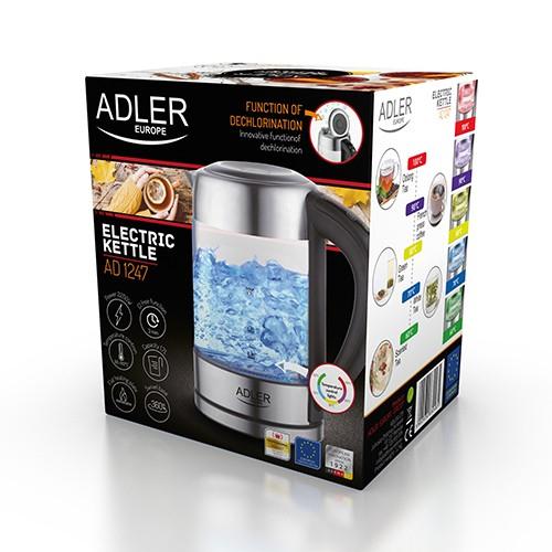 Fierbator ADLER AD 1247 cu reglare temperatura, 2200wati,1.7l, sticla,leduri iluminare,negru/inox 2
