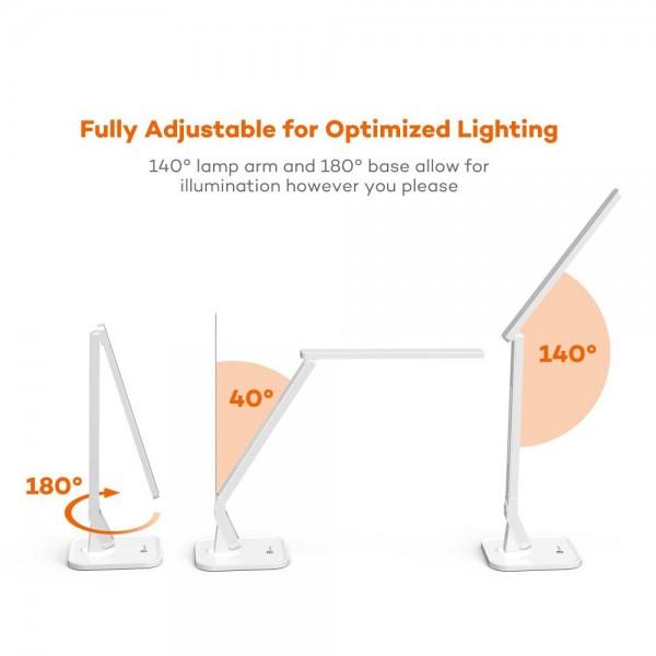 Lampa de birou LED TaoTronics TT DL02 control Touch, 4 moduri, 14W, USB - Alba 3