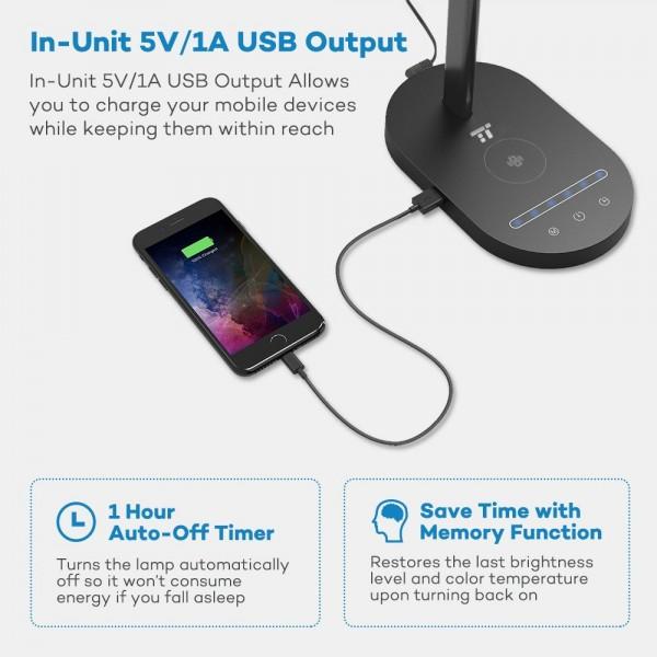 Lampa de birou LED TaoTronics TT-DL31, protectie ochi, control touch, Incarcare Telefon Wireles si USB 3