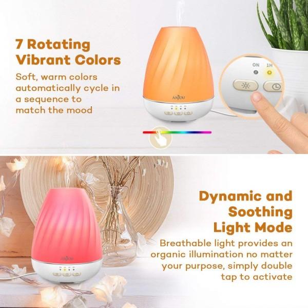 Difuzor aroma cu Ultrasunete Anjou ADA003, 200ml, 13W, LED 7 culori 3