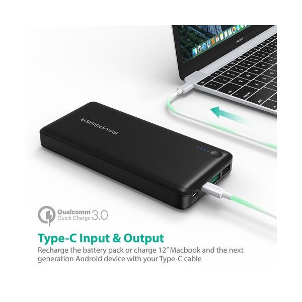 Baterie Externa RavPower 20100mAh 2 X USB + 1XUSB-C, Qualcomm QuickCharge QC3.0, model RP-PB043 2