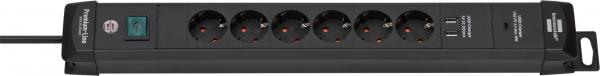Prelungitor Brennenstuhl cu protectie Premium-Line, 6 prize si 2 usb-uri, USB-C, 3m 0