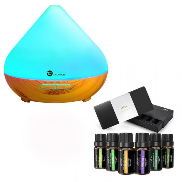 Pachet Difuzor aroma cu Ultrasunete TaoTronics TT-AD002, cu Set 6 uleiuri esentiale 0