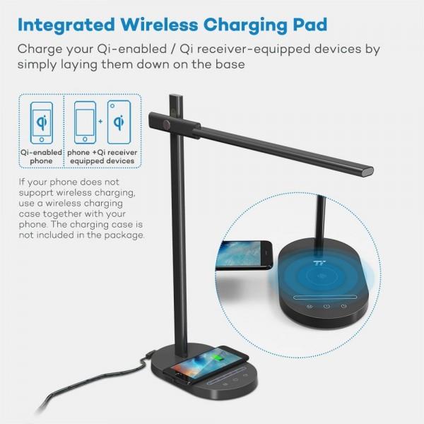Lampa de birou LED TaoTronics TT-DL31, protectie ochi, control touch, Incarcare Telefon Wireles si USB [4]