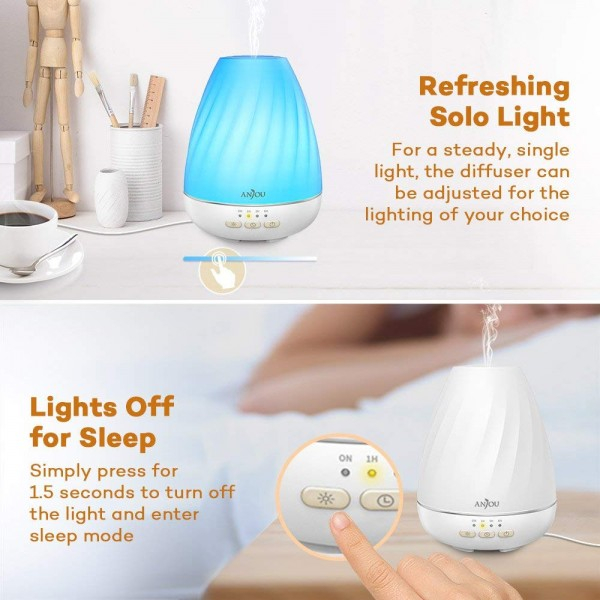 Difuzor aroma cu Ultrasunete Anjou ADA003, 200ml, 13W, LED 7 culori 4