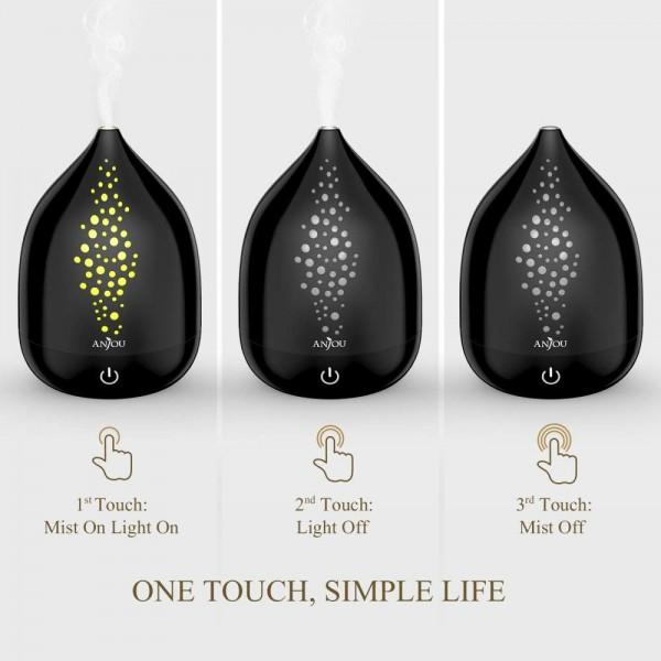 Difuzor aroma cu Ultrasunete Anjou AJ-AD006, 200ml, 13W, LED 7 culori, oprire automata - Negru 4