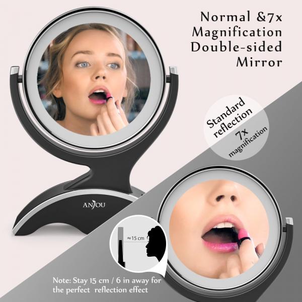 Oglinda cosmetica Anjou iluminata LED, 2 fete, Marire 7X 4