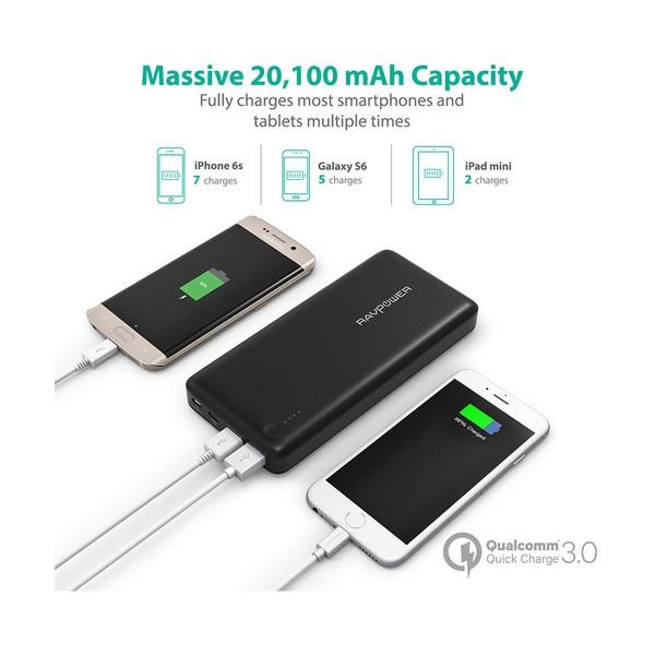 Baterie Externa RavPower 20100mAh 2 X USB + 1XUSB-C, Qualcomm QuickCharge QC3.0, model RP-PB043 3
