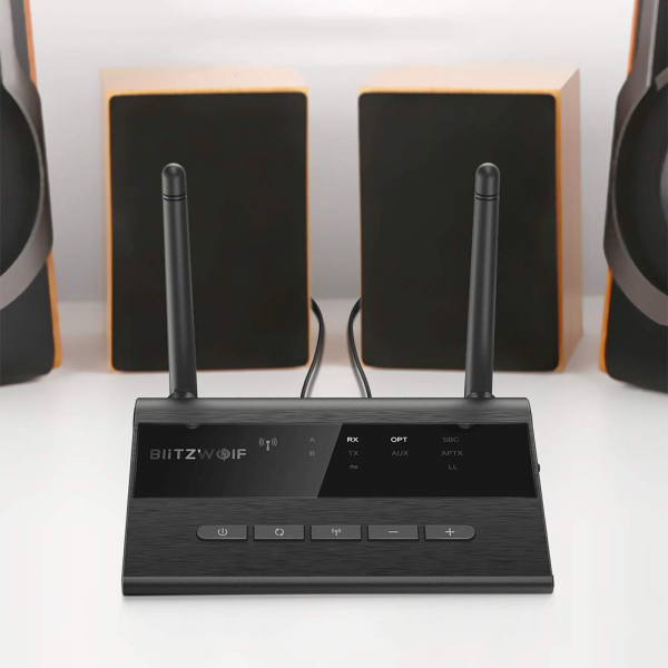 Transmitator si Receptor Audio  BlitzWolf BW-BR5 Bluetooth 5.0, Cablu Optic & Jack 3.5mm, conectare multipla 6