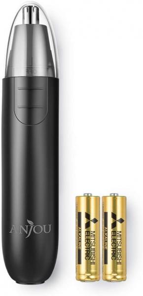 Trimmer pentru nas/urechi Anjou AJ-FS005, Cap detasabil si lavabil, Lumina LED, Baterii, Negru [0]