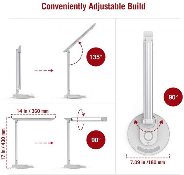 Lampa LED de birou TaoTronics TT-DL036, cu incarcator wireless, control touch, USB, 12W, 410 lm, Alb 1