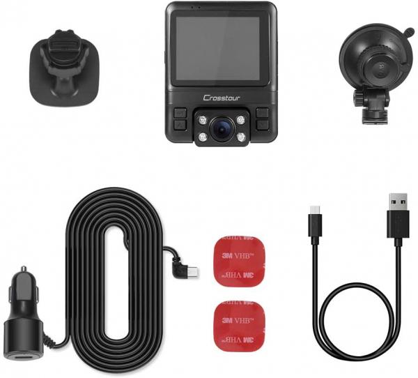 Camera auto DVR Dubla Crosstour CR750, GPS, Full HD,  Bord si Interior, Unghi 170 grade, Night Vision, WDR, G-Sensor, Mod parcare, Filmare in bucla [5]
