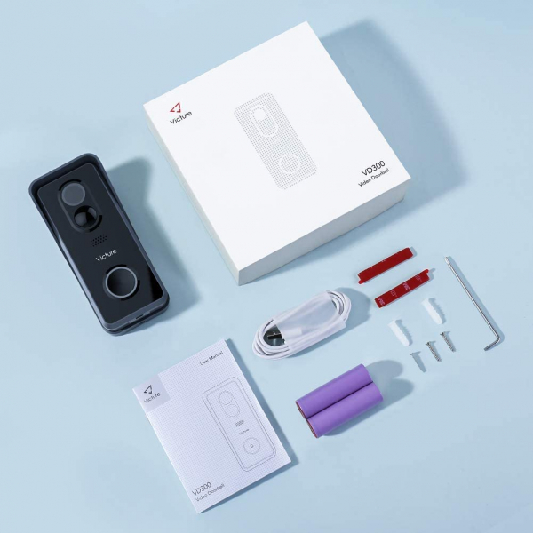 Sonerie Smart Victure VD300 Camera Wireless, 1080P HD, Motion Detection, Cnnvorbire bidirectionala, Wi-Fi Connected, Uunhi larg, Control aplicatie 8