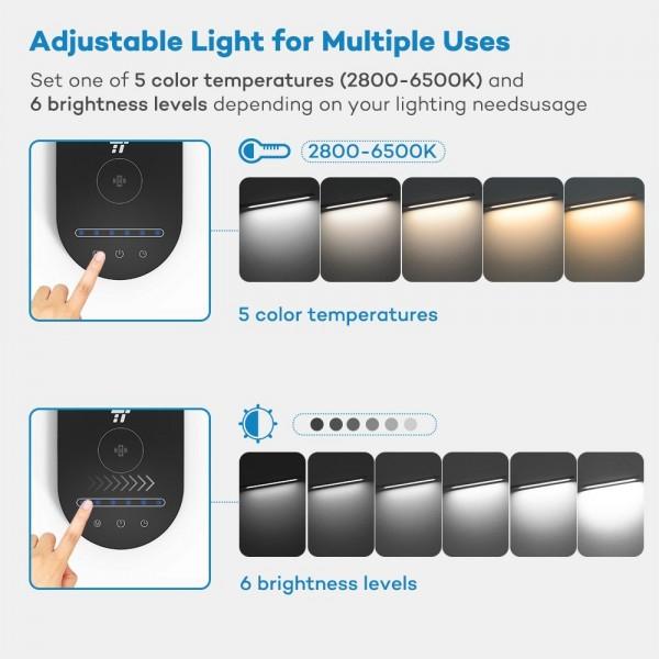 Lampa de birou LED TaoTronics TT-DL31, protectie ochi, control touch, Incarcare Telefon Wireles si USB 5