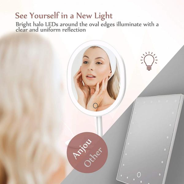 Oglinda cosmetica Anjou iluminata LED, control Touch, Marire 5X acumulator reincarcabil 5