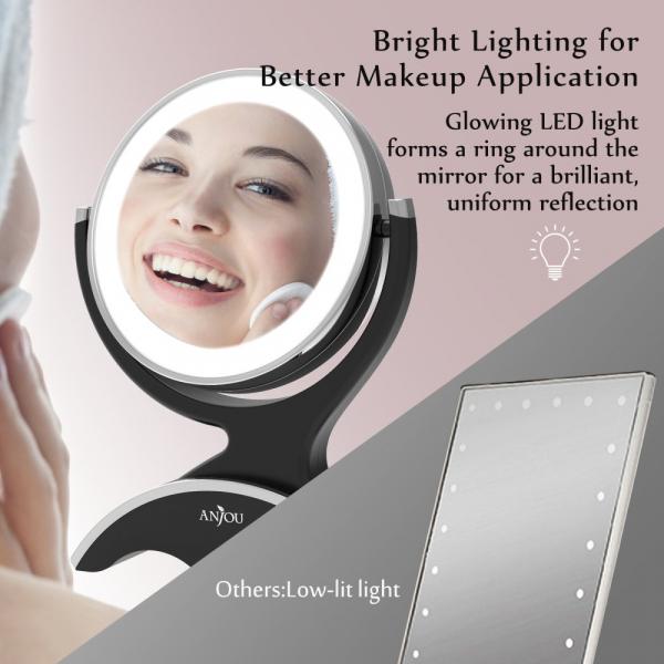 Oglinda cosmetica Anjou iluminata LED, 2 fete, Marire 7X 5