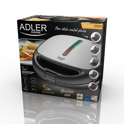Sandwich maker Adler AD 3040 5 in 1 cu functie grill, 2 tipuri sandwich, vafe si preparare nuci, protectie supraincalzire [6]