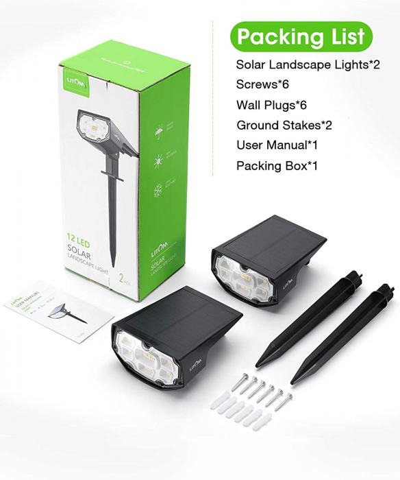 Set 2 bucati Lampa solara LITOM LTCD190 12 leduri, IP67 lumina alba calda, senzor de lumina [5]