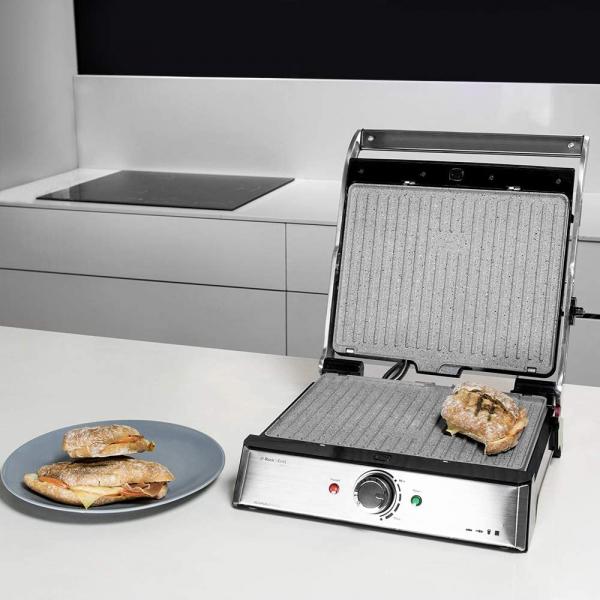 Gratar electric Cecotec 3 in 1 Rock'n Grill Pro , 2000 W, regulator de putere, piatra antiaderenta, gratar electric, plita si aparat de facut sandvisuri - Resigilat 1