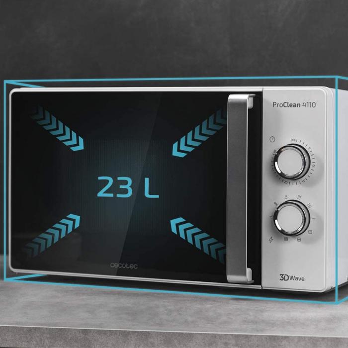Cuptor cu microunde Cecotec ProClean 4110, 700 W, Mecanic, 23 l, 6 trepte, Tehnologie 3DWave, FullCrystal, Timer 30 minute [5]
