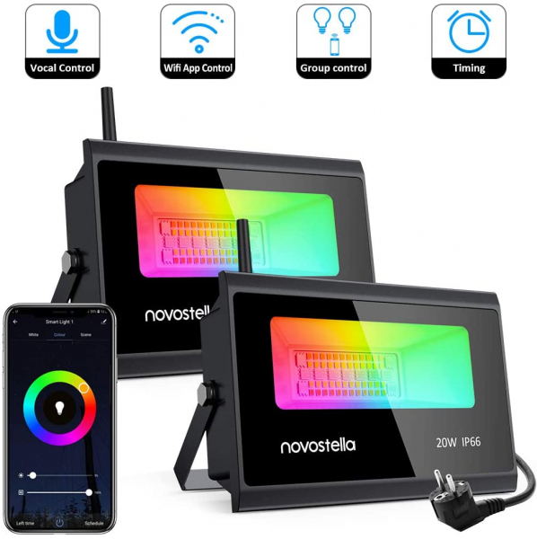 Set 2 proiectoare de podea LED RGB Novostella, Smart, Wifi, Alexa,Google , 20W, Exterior IP66 waterproof 2