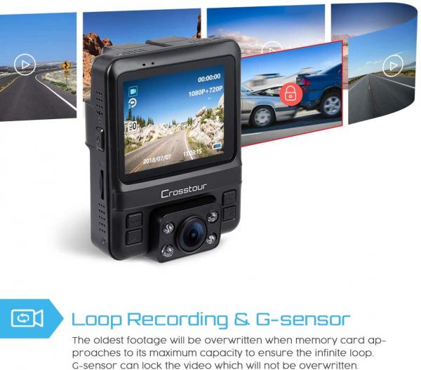Camera auto DVR Dubla Crosstour CR750, GPS, Full HD,  Bord si Interior, Unghi 170 grade, Night Vision, WDR, G-Sensor, Mod parcare, Filmare in bucla [6]