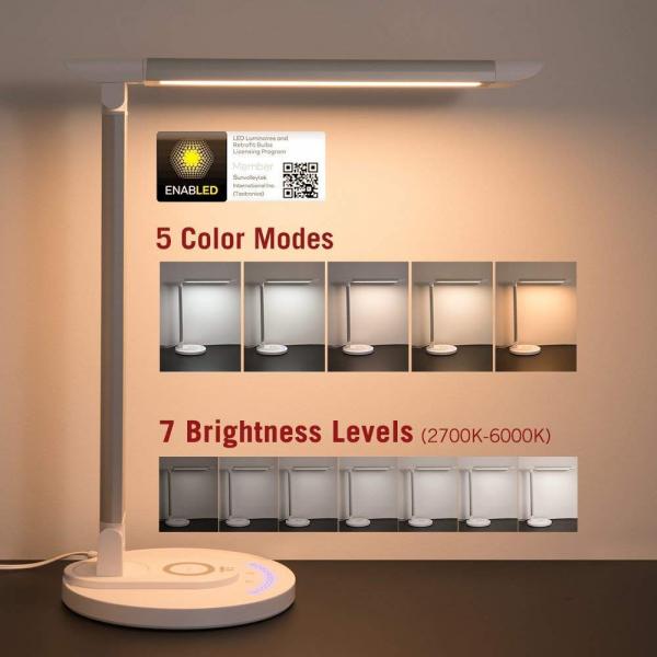Lampa LED de birou TaoTronics TT-DL036, cu incarcator wireless, control touch, USB, 12W, 410 lm, Alb 3