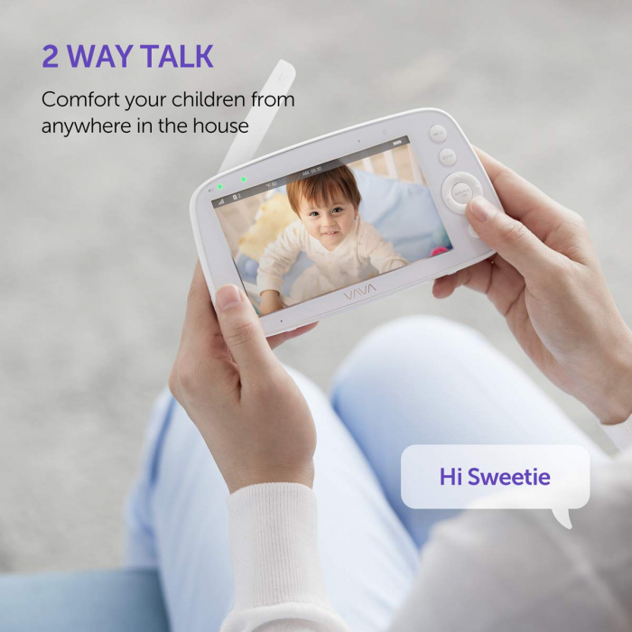 Baby Monitor Video pentru bebelusi VAVA VA-IH006, Display 5 inch, Raza 300 m, 720P, Night Vision, Alarma, Temperatura, Unghi larg, Zomm, Control directional 1