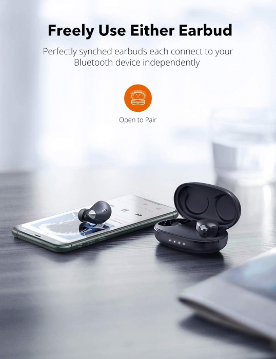 Casti wireless TaoTronics SoundLiberty 79 TWS, sunet puternic si clar,  Smart AI Noise Reduction Technology, 30 ore, IPX8, USB-C [1]