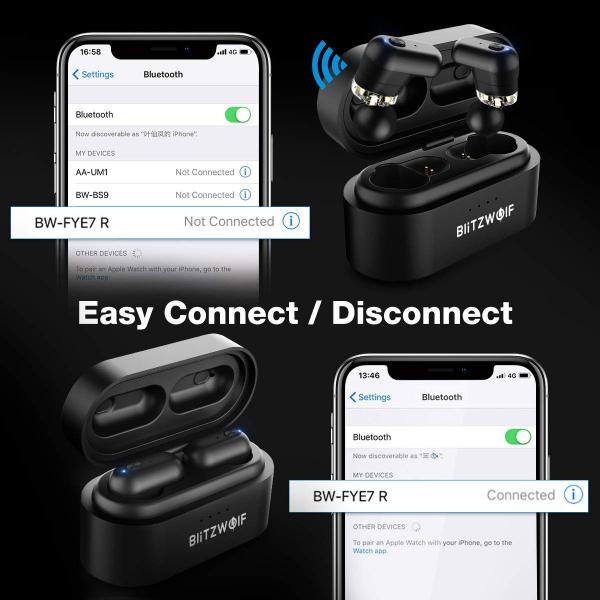 Casti TWS Bluetooth 5.0  True Wireless Blitzwolf BW-FYE7, Dual Dynamic Driver, Bas puternic stereo - Resigilat [5]