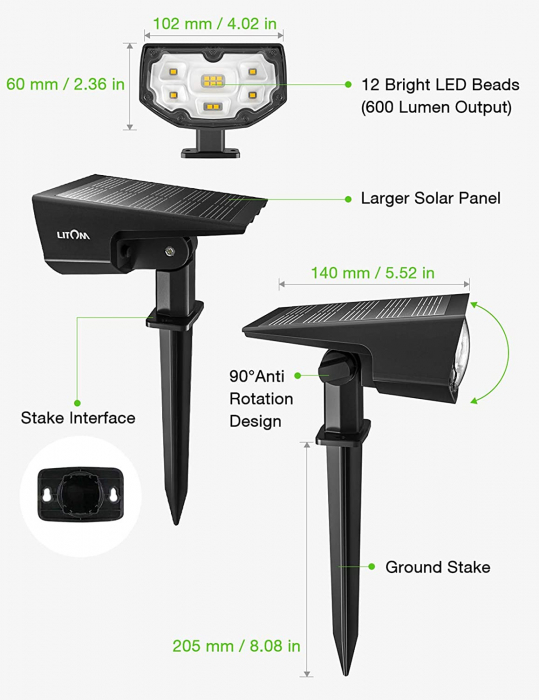 Set 2 bucati Lampa solara LITOM LTCD190 12 leduri, IP67 lumina alba calda, senzor de lumina [2]