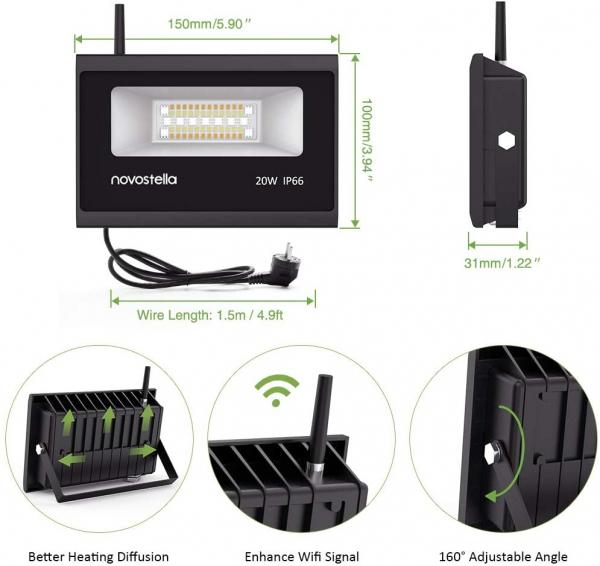 Set 2 proiectoare de podea LED RGB Novostella, Smart, Wifi, Alexa,Google , 20W, Exterior IP66 waterproof [5]