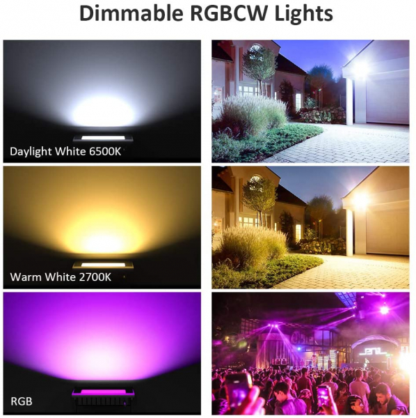 Set 2 proiectoare de podea LED RGB Novostella, Smart, Wifi, Alexa,Google , 20W, Exterior IP66 waterproof 6