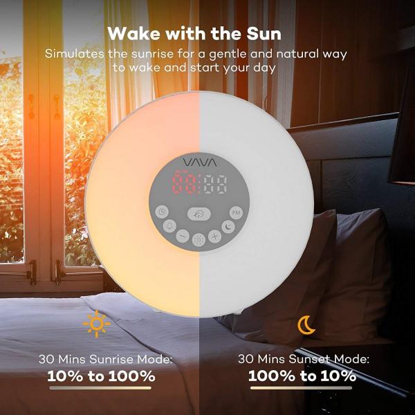 Ceas cu Radio FM VAVA Lampa de Veghe 7 culori LED, alarma , Meniu Touch [2]