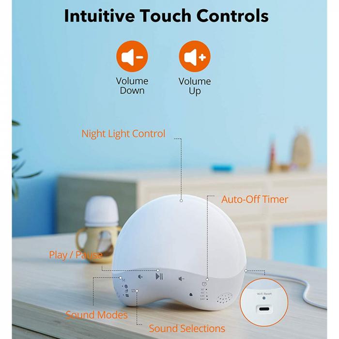 Lampa de veghe Smart TaoTronics TT-CL023, RGB, control din telefon, 25 de sunete, control Alexa si Google [6]