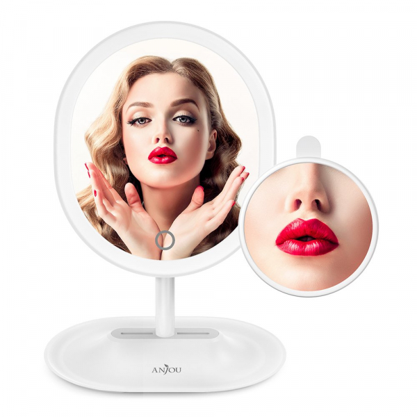 Oglinda cosmetica Anjou iluminata LED, control Touch, Marire 5X acumulator reincarcabil 6